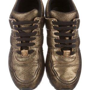 Chanel sneakers metallic gold brown CC US 9 IT 39
